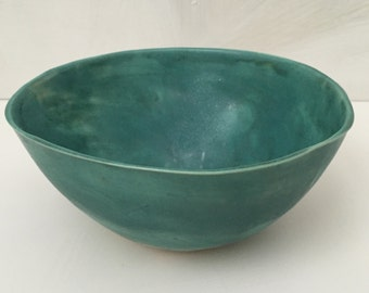 Matte turquoise green bowl