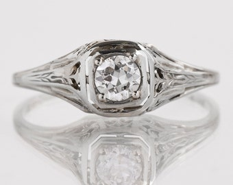 Antique Engagement Ring - Antique Edwardian 18k White Gold Diamond Engagement Ring