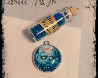 Zombie Charms Pendants Glass Vial Pendant Set Zombie Apocalypse Set of 2 Pendants