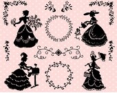 Digital Stamps - Victorian Ladies / Lace - Digital Clip Art (Instant Download)