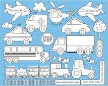 Digital Stamps - Transportation / Trains, Planes and Trucks / Color Me - Digital Clip Art (Instant Download)