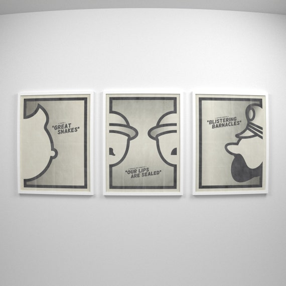 The Adventures of TinTin ~ Minimalist Poster Art, Movie Gift, Set of 3 Prints by Christopher Conner