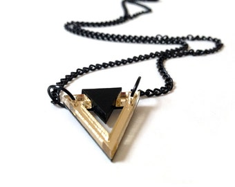 Geometric 80's Style Necklace, Triangle Necklace, Black and Gold Color