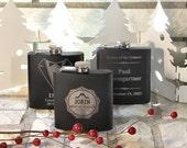 CUSTOM Engraved Groomsmen Gift, 1 Engraved Flask, Stainless Steel Flask, Personalized Best Man Gift, 1 Black Flask