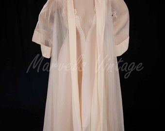 Vintage Blanche By Ralph Montenero Peignoir Set Nightgown And Chiffon Robe Size Small