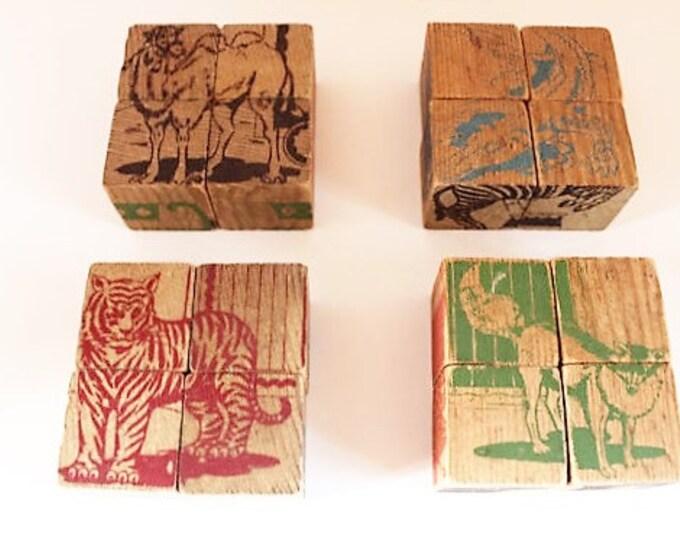 Vintage 16 Wooden Picture Puzzle Blocks