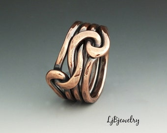 Copper Knot ring, Love Knot Ring, Infinity Ring, Forged Ring, Eternity Ring,  Copper Ring, Double Knot Ring , 12 gauge Copper wire