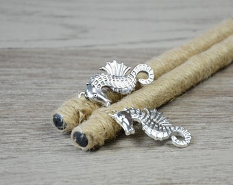 Beach wedding Guest Book Pen, silver sea horse and natural twine guest book pen, nautical wedding, Pen for Guest Book, rustic, set of two