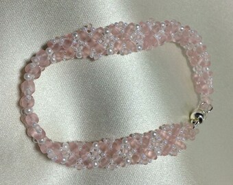 Pink Woven Bracelet Pink White Bracelet Pink Beaded Bracelet Twin Bead Bracelet Bead Woven Bracelet Beaded Bracelet Seed Bead Bracelet