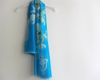 Hand painted silk, turquoise scarf, floral scarf, silk art, woman silk gift, handmade scarf for her - made TO ORDER