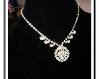 Brides Wedding Necklace - Clear Rhinestones - Wedding Jewelry - Mother of the Bride Rhinestone Jewelry - Vintage 1960s Neck-2004a-081614045
