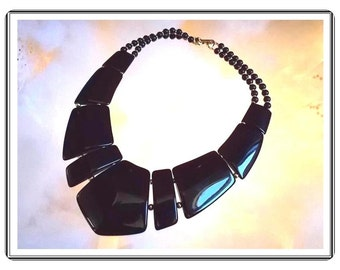 Retro Black Bib Choker Necklace with Large Lucite Linking Plates - Designer Signed Napier - Neck-3301a-090814015
