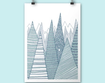 Mountains / A4 print / Art print / Illustration / Contemporary art / teal mountain print / christmas art print