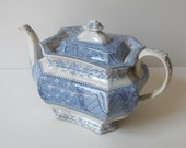 Antique Teapot Lovely Aesthetic Movement Pattern/ Blue & White/ For The Beginning Collector c.1860s