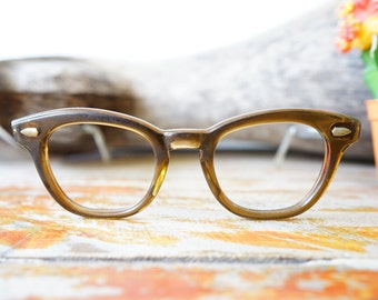 Vintage Eyeglasses American Optical 1950's Combination Frame Clear Brown New Old Stock Very Early Frame