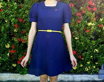 Sale! Vintage Dress/ Vintage 1970s Dress/ Vintage Japanese Dress/ Vintage Dress/ Womens Dress/ 70s Dress/ Navy Blue Dress/ Mini Dress