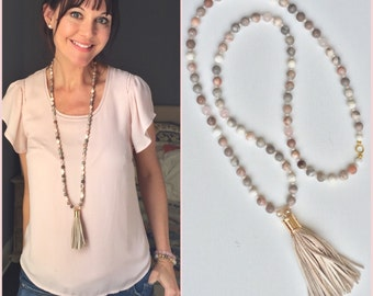 Long neutral tone rose quartz grey oatmeal stone suede Crystal Beaded Tassel necklace