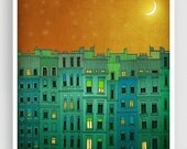 20% OFF SALE: Paris illustration - Golden night II. - Fine art illustration Print Paris art City prints Paris decor Travel poster Wall art G