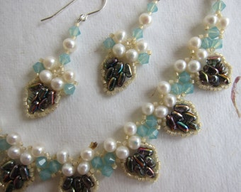 Drop Petal Necklace and Earrings, Handmade with Cultured Freshwater Pearls, Swarovski Crystal, Miyuki Japanese Glass and Czech Glass Beads