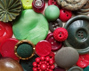 3 Doz. Antique and Vintage Button Lot No.423 | Red, Green | Christmas Buttons | Rhinestone, Bakelite, Metal
