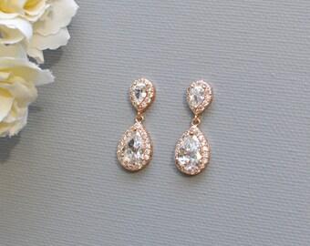 Rose Gold Crystal Teardrop Earrings, Crystal Bridal Drop Earrings, Bridal Jewelry, Bridesmaid Earrings KAYO