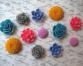 Resin Flowers, 12 pcs, Cabochon Flowers, Jewel Tones, Resin Roses, Dahlias, Sakura, Flat Back Flowers, Perfect for DIY Jewelry Projects