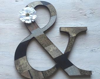 "12"" Wooden Ampersand &, Ampersand Letter, Custom And Sign"