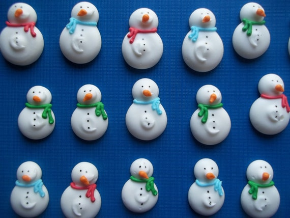 Snowman Sugar Icing Cupcake Decorations   Christmas Wikii
