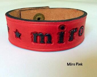 Genuine Leather Cuff Customized Name
