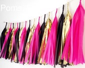 Tassel Garland- tissue paper and mylar tassels / 6 feet Tissue Paper garland- ANY COLOR you choose