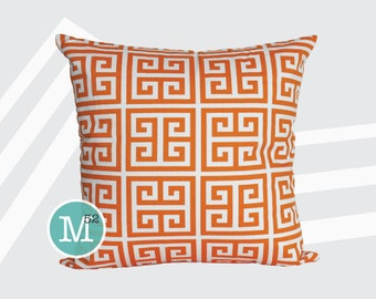 Orange Greek Key Pillow Cover - 12 x 12 - Zipper Closure