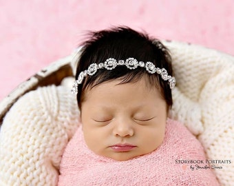 Newborn silver bling band, newborn rhinestone headband, newborn photo prop, silver rhinestone headband, dainty newborn headband, vintage