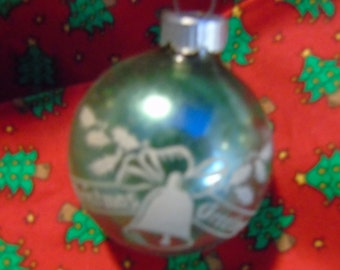 vintage blue Shiny Brite Christmas greeting with a bell  unusual
