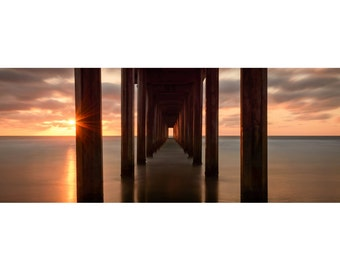 California Landscape 1:3 Wide Panoramic Photography Print - La Jolla Pacific Ocean Sunset - Scripps Pier - 8x24 12x36 16x48 20x60