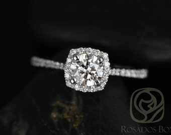 Samina 1/2ct 14kt White Gold Round Diamond Cushion Halo Diamond Engagement Ring (Other metals and stone options available)