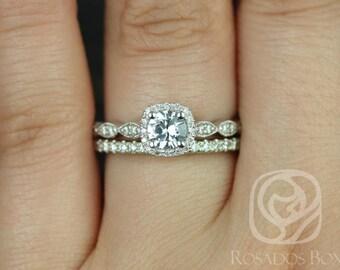Rosados Box Christie 5mm & Callie 14kt Round White Sapphire and Diamond Cushion Halo WITH Milgrain Wedding Set