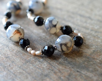 Unique Dragons Vein agate bead necklace Chunky stone necklace Single strand rice pearl and semi precious black onyx necklace Office jewelry