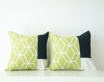 "2 Braemore Linen Pillow Covers, 16x16,"" Set, Color Block, Fresh Green, Pair Patchwork Cushion Covers, Contemporary Decor, Designer Fabric"