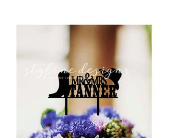 Western Boot and Hat Perosnalized Name - Event Wedding Cake Topper