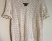 Ivory crochet pullover sweater