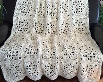 Crochet afghan crochet blanket Victorian wedding romantic victorian bedspread crochet bedspread, MADE TO ORDER