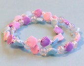 Kawaii Mermaid - Pastel Shell Bracelets with Bubbles and Tiny Pearl Beads - Set of 2
