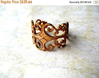 SALE Vintage Brass Ring - Vintage Filigree Ring - Solid Brass - Bohemian Ring - Bohemian Jewelry