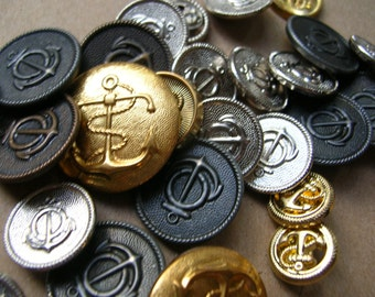 Mixed Anchor Buttons - Button Lot - Military Button Lot