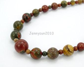 Handmade Natural Picasso Jasper Gemstone Beads 4~12mm Graduated Adjustable Necklace Healing Jewelry Making