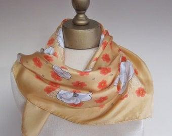 silk scarf, vintage Anne Fogarty, peach silk square, floral silk scarf, hand rolled, designer silk neck scarf, 1960s scarf, mod