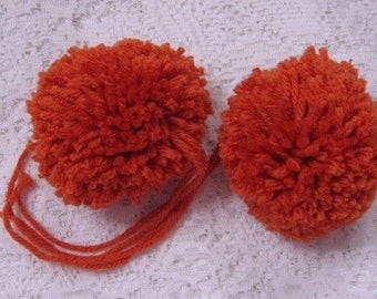 Yarn Pom Poms Dark Orange Size Large - Set of 2 Pumpkin Pom Pon