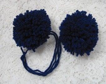 Yarn Pom Poms Navy Size Large - Set of 2 Navy Blue Pom Pon