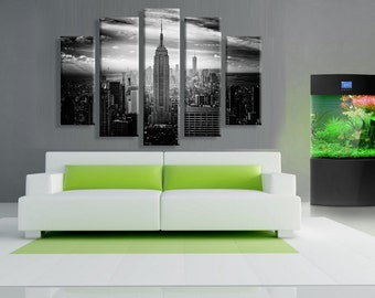 5 Panels,New York City empire state building art work, Canvas oil printing. back stretch frame inside.