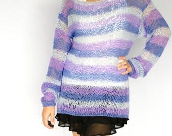 Women's Knit Sweater, Purple Top, Stripes, Violet,Lilac, Lavender, On Sale Now